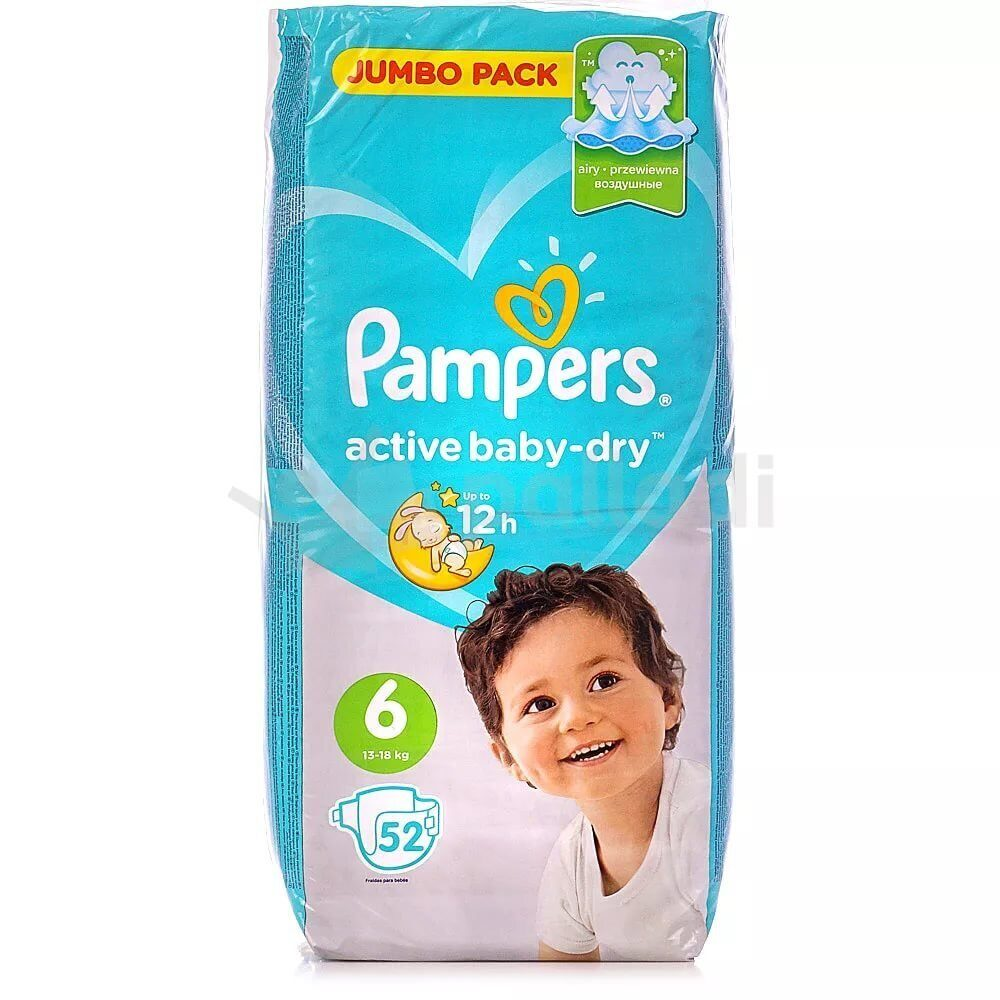Pampers Active Baby -Dry Extra Large 13-18 упак52
